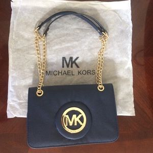 NEW Michael Kors Navy Blue Gold Leather purse